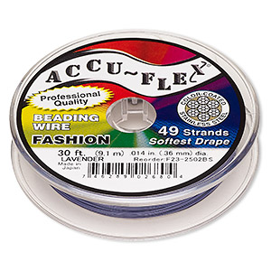 beading wire, accu-flex, nylon and stainless steel, lavender, 49 strand, 0.014-inch diameter. sold per 30-foot spool.