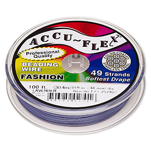 beading wire, accu-flex, nylon and stainless steel, lavender, 49 strand, 0.019-inch diameter. sold per 100-foot spool.