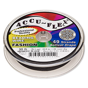 beading wire, accu-flex, nylon and stainless steel, midnight black, 49 strand, 0.014-inch diameter. sold per 30-foot spool.