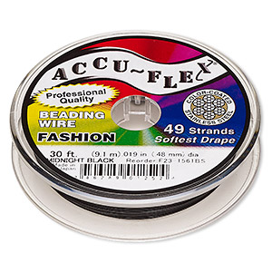 beading wire, accu-flex, nylon and stainless steel, midnight black, 49 strand, 0.019-inch diameter. sold per 30-foot spool.