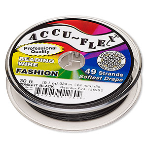 beading wire, accu-flex, nylon and stainless steel, midnight black, 49 strand, 0.024-inch diameter. sold per 30-foot spool.