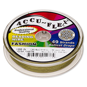 beading wire, accu-flex, nylon and stainless steel, olive green, 49 strand, 0.019-inch diameter. sold per 100-foot spool.