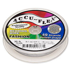 beading wire, accu-flex, nylon and stainless steel, pearl, 49 strand, 0.014-inch diameter. sold per 30-foot spool.