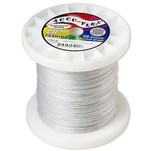 beading wire, accu-flex, nylon and stainless steel, pearl, 49 strand, 0.024-inch diameter. sold per 1,000-foot spool.