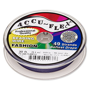 beading wire, accu-flex, nylon and stainless steel, plum purple, 49 strand, 0.019-inch diameter. sold per 30-foot spool.