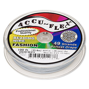 beading wire, accu-flex, nylon and stainless steel, snow white, 49 strand, 0.014-inch diameter. sold per 100-foot spool.