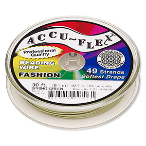 beading wire, accu-flex, nylon and stainless steel, spring green, 49 strand, 0.024-inch diameter. sold per 30-foot spool.