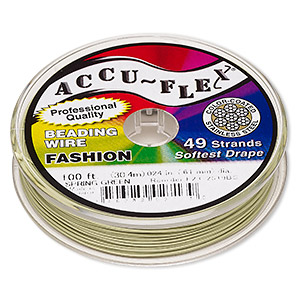 beading wire, accu-flex, nylon and stainless steel, spring green, 49 strand, 0.024-inch diameter. sold per 100-foot spool.