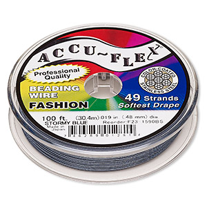 beading wire, accu-flex, nylon and stainless steel, stormy blue, 49 strand, 0.019-inch diameter. sold per 100-foot spool.
