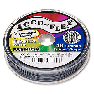 beading wire, accu-flex, nylon and stainless steel, stormy blue, 49 strand, 0.024-inch diameter. sold per 100-foot spool.