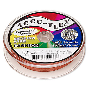beading wire, accu-flex, nylon and stainless steel, tangerine, 49 strand, 0.019-inch diameter. sold per 30-foot spool.
