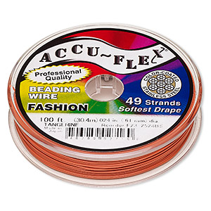 beading wire, accu-flex, nylon and stainless steel, tangerine, 49 strand, 0.024-inch diameter. sold per 100-foot spool.