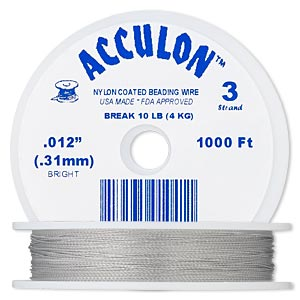 beading wire, acculon, nylon-coated stainless steel, clear, 3 strand, 0.012-inch diameter. sold per 1,000-foot spool.