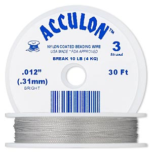 beading wire, acculon, nylon-coated stainless steel, clear, 3 strand, 0.012-inch diameter. sold per 30-foot spool.