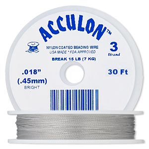 beading wire, acculon, nylon-coated stainless steel, clear, 3 strand, 0.018-inch diameter. sold per 30-foot spool.