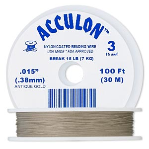 beading wire, acculon, nylon-coated stainless steel, gold color, 3 strand, 0.015-inch diameter. sold per 100-foot spool.