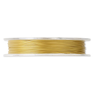 beading wire, tigertail™, nylon-coated stainless steel, gold, 7 strand, 0.015-inch diameter. sold per 100-foot spool.
