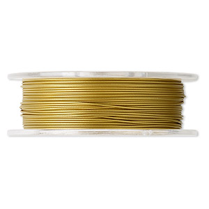 beading wire, tigertail™, nylon-coated stainless steel, gold, 7 strand, 0.022-inch diameter. sold per 30-foot spool.