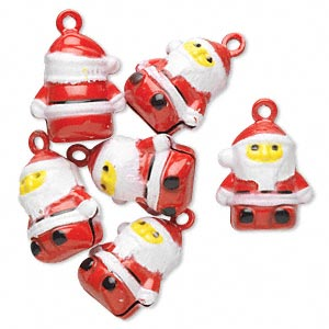 bell, brass and enamel, multicolored, 20x17mm santa with clapper. sold per pkg of 6.