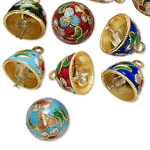 bell, cloisonne, copper and enamel, multicolored, 12x10mm bell. sold per pkg of 10.