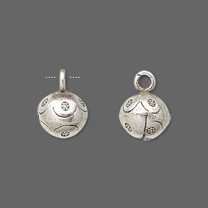 bell, hill tribes, antiqued fine silver, 15x11mm with flower and clapper. sold individually.