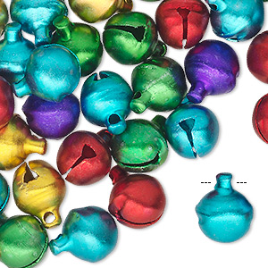 bell mix, aluminum, jewel tones, 10mm. sold per pkg of 100.