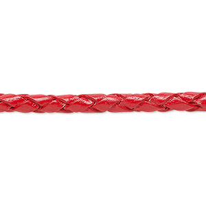 bola cord, leather, red, 3-4.5mm wide. sold per pkg of (4) 35-inch lengths.