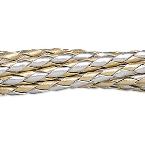 bola cord, leatherette, gold and silver, 3.5-4mm round. sold per pkg of (10) 36-inch lengths.
