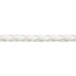 bola cord, leatherette, white, 3.5-4mm textured round. sold per pkg of (10) 36-inch lengths.