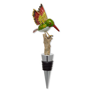 bottle stopper, cloisonne, acrylic / rubber / silver-plated pewter (zinc-based alloy), multicolored, 6x1-1/4 inches with 61x40mm hummingbird on branch. sold individually.