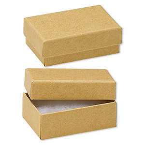 box, kraft paper, cotton-filled, 2-5/8 x 1-1/2 x 1-inch rectangle. sold per pkg of 100.