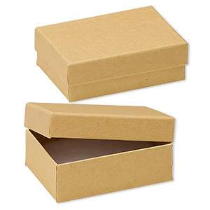 box, kraft paper, cotton-filled, 3-1/4 x 2-1/4 x 1-inch rectangle. sold per pkg of 10.