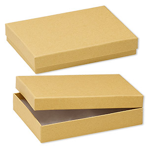 box, kraft paper, cotton-filled, 5-1/4 x 3-3/4 x 1-inch rectangle. sold per pkg of 10.