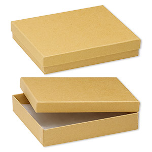 box, kraft paper, cotton-filled, 6-1/8 x 5-1/8 x 1-1/8 inch rectangle. sold per pkg of 10.