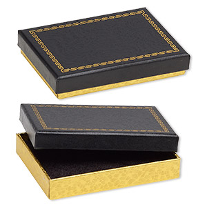 box, paper and velvet, black and gold, 3-1/2 x 2-1/2 x 5/8 inch rectangle. sold per pkg of 6.