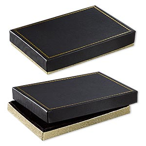 box, paper and velvet, black and gold, 7-1/8 x 4-7/8 x 1-1/4 inches. sold per pkg of 6.