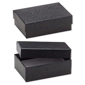 box, paper, cotton-filled, black, 3-1/4 x 2-1/4 x 1-inch rectangle. sold per pkg of 100.