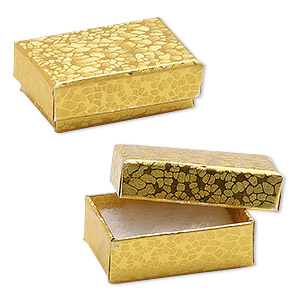 box, paper, cotton-filled, gold, 1-7/8 x 1-1/4 x 5/8 inch rectangle. sold per pkg of 10.