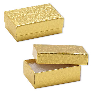 box, paper, cotton-filled, gold, 2-5/8 x 1-1/2 x 1-inch rectangle. sold per pkg of 10.