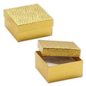 box, paper, cotton-filled, gold, 3-3/4 x 3-3/4 x 2-inch square. sold per pkg of 100.