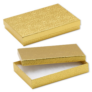 box, paper, cotton-filled, gold, 7-1/8 x 5-1/8 x 1-1/8 inch rectangle. sold per pkg of 100.
