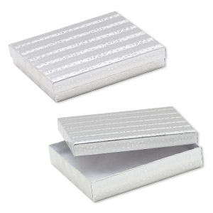 box, paper, cotton-filled, silver, 6-1/8 x 5-1/8 x 1-1/8 inch rectangle. sold per pkg of 100.