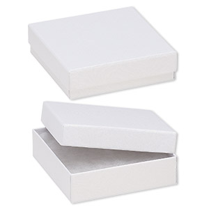 box, paper, cotton-filled, white, 3-1/2 x 3-1/2 x 1-inch textured square. sold per pkg of 100.