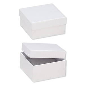 box, paper, cotton-filled, white, 3-3/4 x 3-3/4 x 2-inch textured square. sold per pkg of 10.