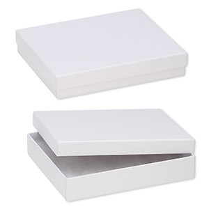 box, paper, cotton-filled, white, 6-1/8 x 5-1/8 x 1-1/8 inch textured rectangle. sold per pkg of 10.