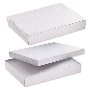 box, paper, cotton-filled, white, 7-1/8 x 5-1/8 x 1-1/8 inch rectangle. sold per pkg of 10.