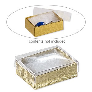box, plastic and paper, cotton-filled, gold and clear, 2-1/8 x 1-5/8 x 3/4 inch rectangle. sold per pkg of 100.