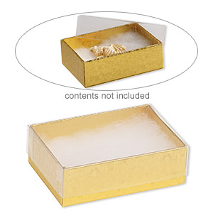 box, plastic and paper, cotton-filled, gold and clear, 3-1/4 x 2-1/4 x 1-inch rectangle. sold per pkg of 100.