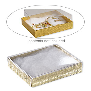 box, plastic and paper, cotton-filled, gold and clear, 6-1/8 x 5-1/8 x 1-1/8 inch rectangle. sold per pkg of 10.