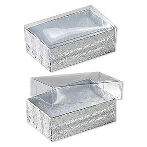 box, plastic and paper, cotton-filled, silver and clear, 2-5/8 x 1-1/2 x 1 inches. sold per pkg of 10.